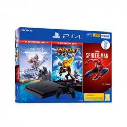 CONSOLA PS4 500GB+HORIZON+SPIDERMAN+RATC